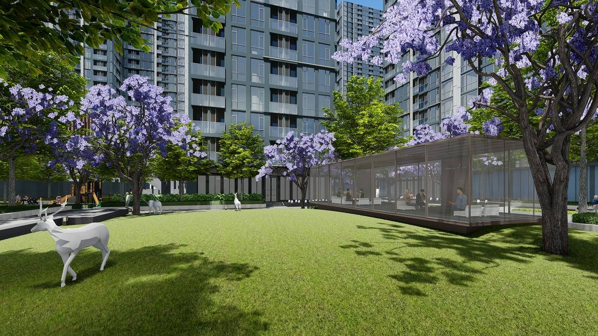 ภาพตัวอย่างพื้นที่สวนสาธารณะขนาดใหญ่ภายในโครงการ Regal Sukhumvit 76
