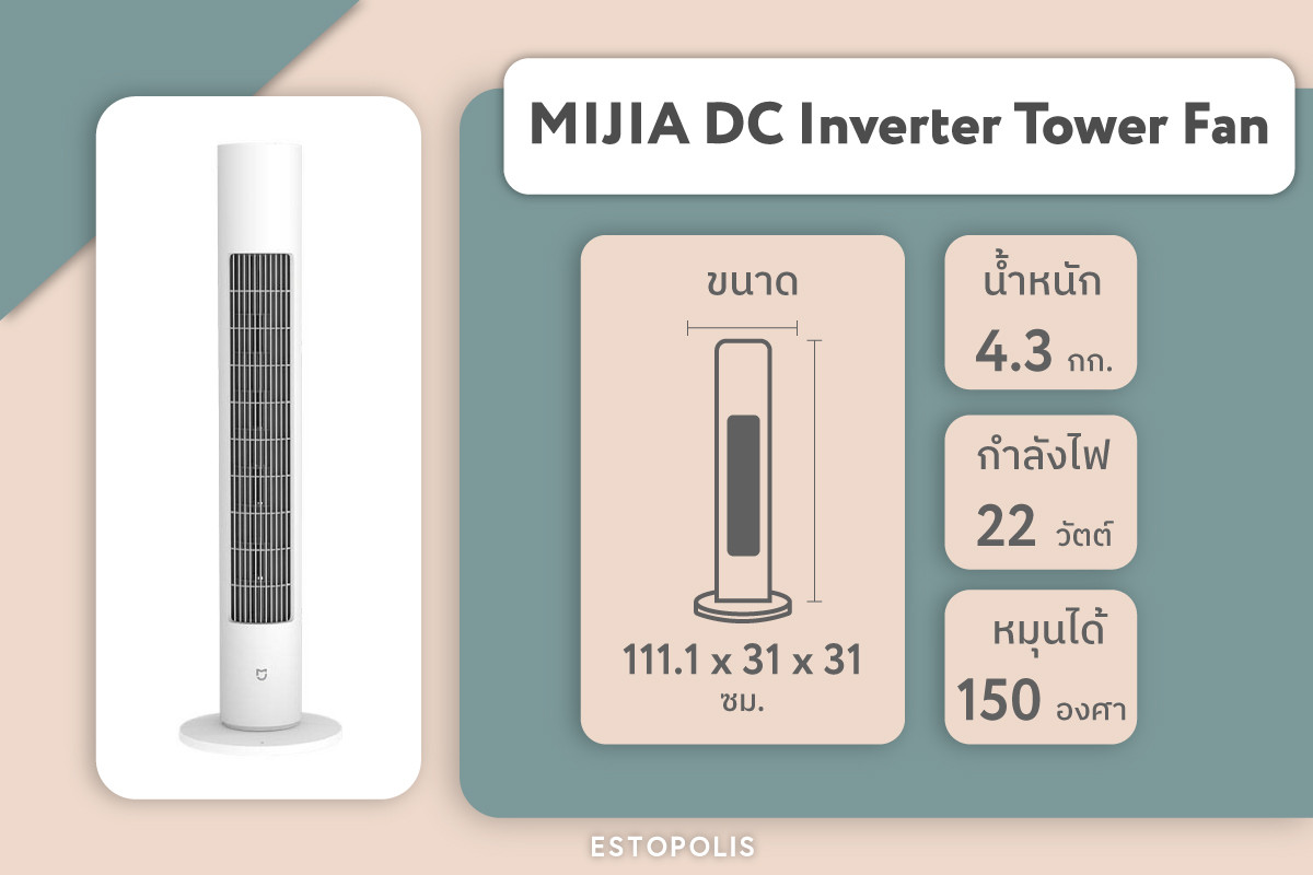 พัดลม Xiaomi 'MIJIA DC Inverter Tower Fan'